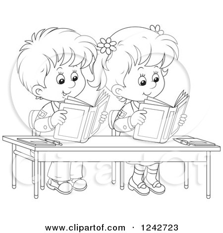 Clipart of Black and White School Children Reading at