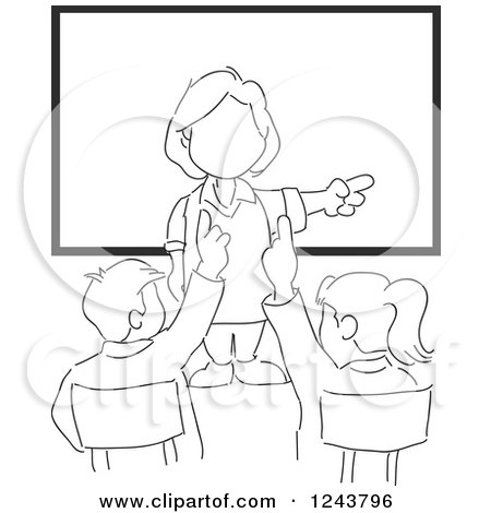 Clipart of a Sketched Female Teacher and Smart Students