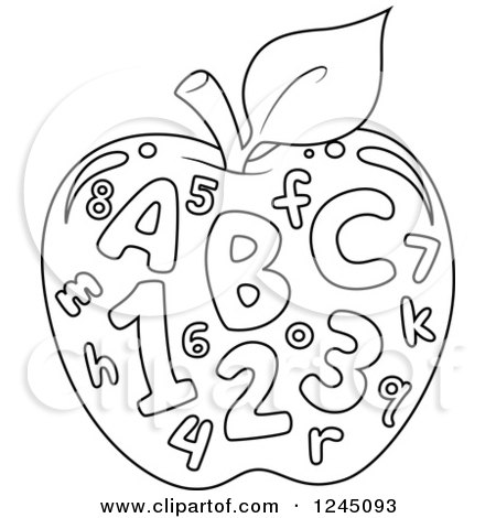 Clipart of a Black and White Outlined Apple with Letters