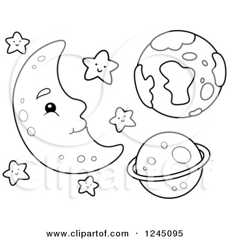 Images Of Royalty Free Black And White Moon With Stars
