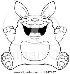 rabbit clipart fat royalty cheering sitting rf illustrations thoman cory graphics vector