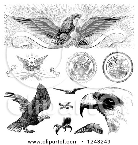 Clipart of Black and White Vintage American Bald Eagles