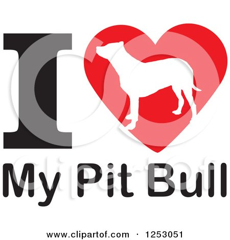 Download Clipart of an I Heart My Pit Bull Dog Design - Royalty ...