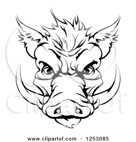Clipart of a Black and White Muscular Boar Man Punching