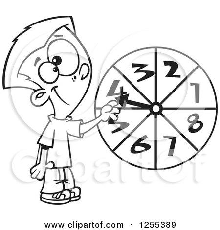 Clipart of a Caucasian School Girl Running on a Math Chart
