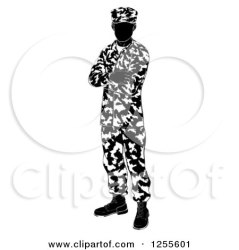 soldier army standing clipart folded illustration vector silhouette royalty silhouetted arms clip camouflage atstockillustration yayayoyo gray background license clipartof