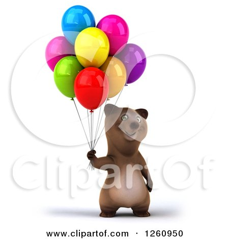 clipart of 3d brown bear holding