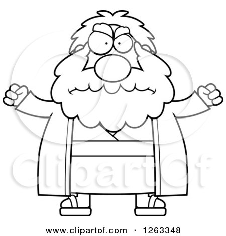 Clipart of a Black and White Cartoon Mad Chubby Moses