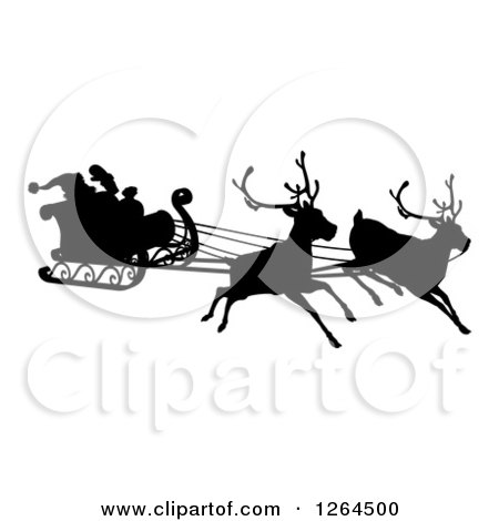 Clipart of a Red Nosed Reindeer Rudolph Flying Santa in a Sleigh  Royalty Free Vector