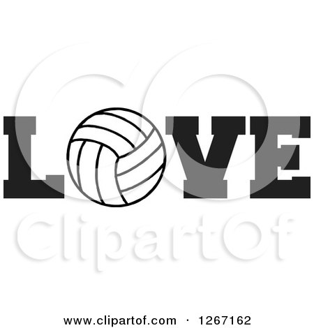 Clipart of a Black and White Volleyball As the Letter O in