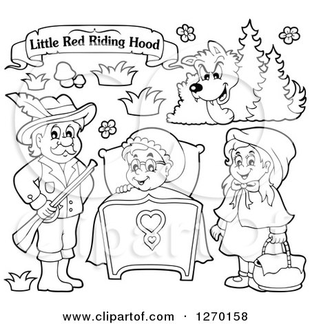 Black and White Little Red Riding Hood Banner and