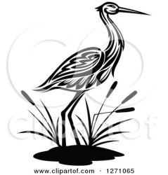bird tribal crane clipart cattails wading vector illustration cattail royalty graphics seamartini tradition sm cartoon plants clipground lineartestpilot