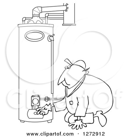 Outline Clipart of a Chubby Black and White Worker Man