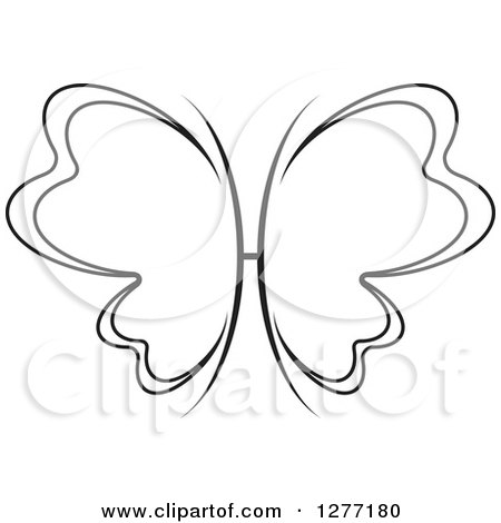 Clipart of a Black and White Butterfly with Petal