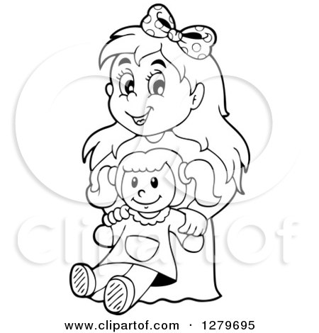 Clipart of a Happy Black and White Girl Holding a Doll