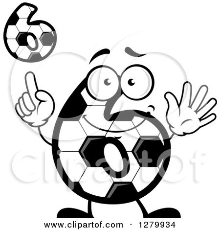 Clipart of Grayscale Soccer Ball Number Six Designs