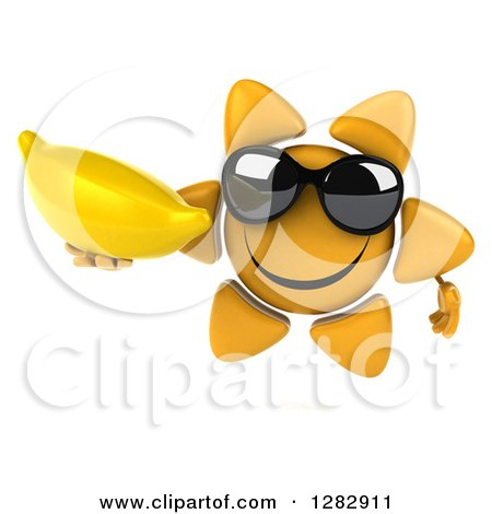 clipart of 3d sun character wearing