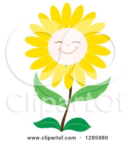 clipart of happy yellow daisy