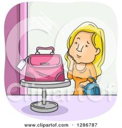 clipart cartoon shopping window admiring woman display purse royalty blond pink illustration rf illustrations bnp studio