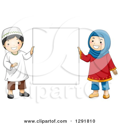 Clipart Happy Muslim Family  Royalty Free Vector