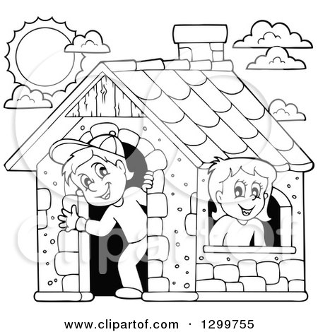 Clipart of a Black and White Boy and Girl in a Play House