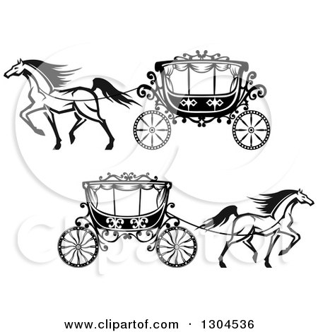 Clipart Black And White Prancing Horse And Romantic