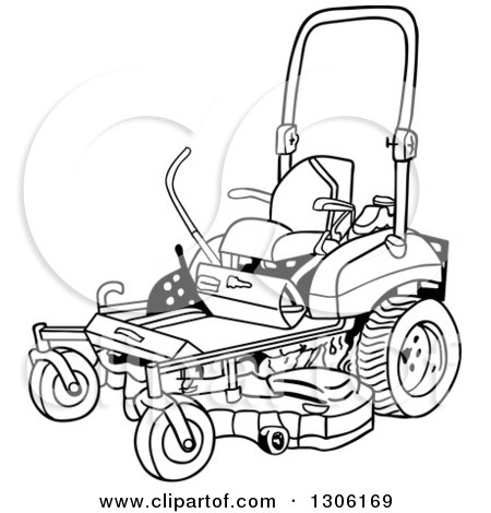 Clipart of a Cartoon Black and White Ride on Lawn Mower