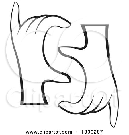 Clipart of a Pair of Black and White Hands Forming Letter