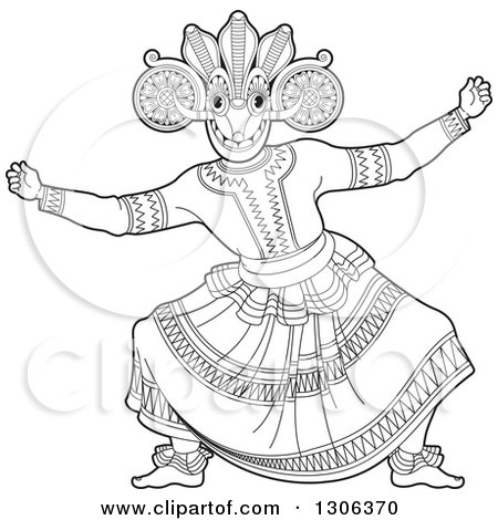 Clipart of a Black and White Traditional Sinhala Devil