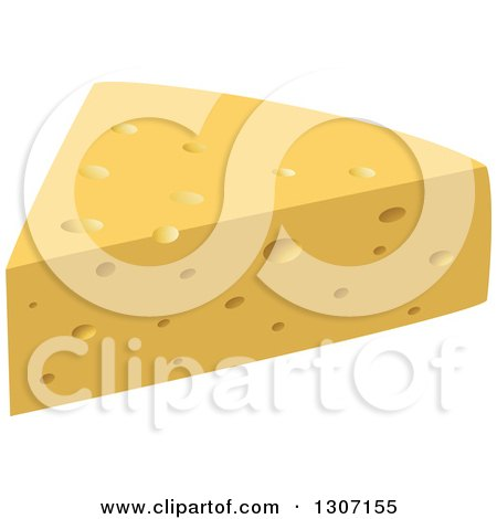 Clipart of a Black and White Sketched Cheese Wedge