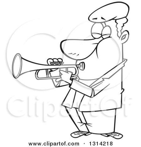 Lineart Clipart of a Cartoon Black and White Musician