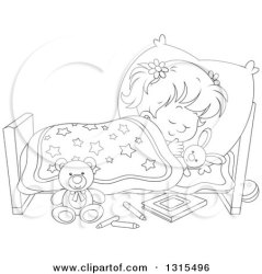 Clipart of a Cartoon Black and White Girl Sleeping Peacefully in a Bed Royalty Free Vector Illustration by Alex Bannykh #1315496