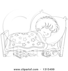 Cartoon Black And White Bed Clipart