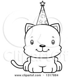 cartoon kitten clipart cat cute wizard happy outline royalty animal illustration vector lineart cory thoman mad illustrations clipartof