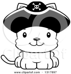 cat cute pirate cartoon happy kitten captain animal clipart illustration outline lineart vector royalty thoman cory mad clipartof