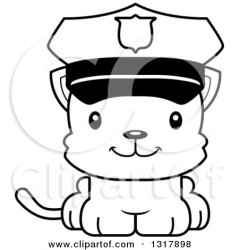 cat police cute clipart cartoon officer kitten outline cory thoman royalty animal illustration happy mad cats vector lineart kitty rf
