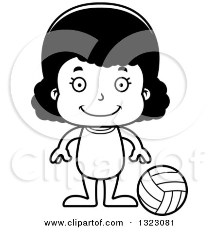 Cartoon Lineart Happy Black Girl Beach Volleyball Player