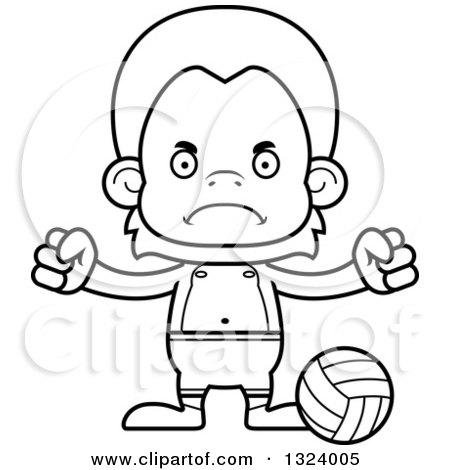 Cartoon Black and White Mad Orangutan Monkey Beach
