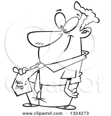 Lineart Clipart of a Cartoon Black and White Happy Father