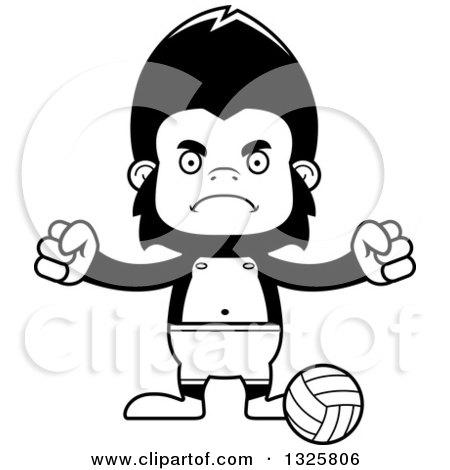 Cartoon Black and White Mad Gorilla Beach Volleyball