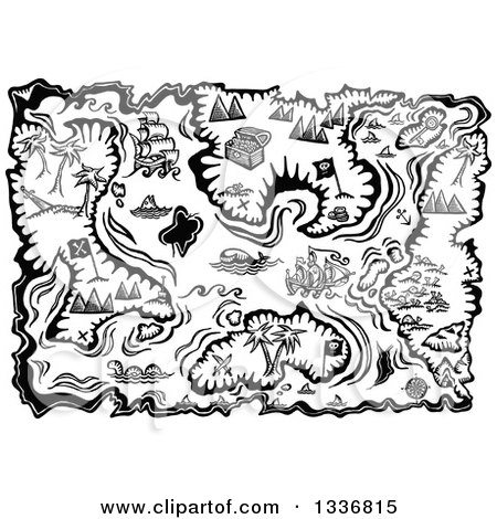 Clipart of a Black and White Treasure Map with Islands