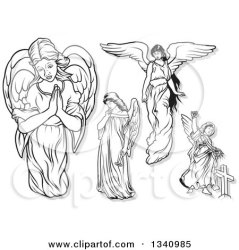 angels clipart praying gray outlines female vector flowers royalty illustration carrying shadows dero
