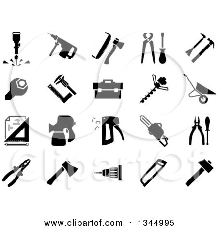 Clipart of Flat Design Screws, Nails, Bolts and Nuts