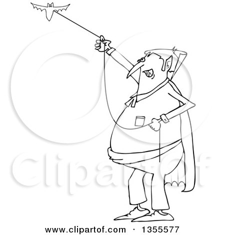 Outline Clipart of a Cartoon Black and White Chubby