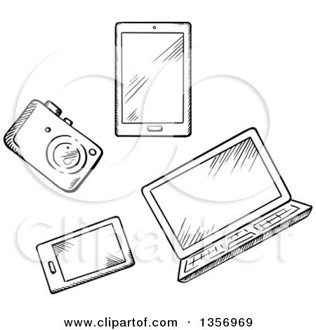 Clipart of a Black and White Sketched Camera, Tablet