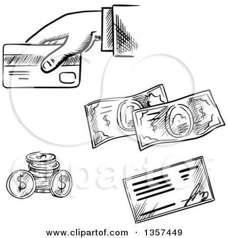 Clipart of Black and White Sketched Coins, Check, Cash and