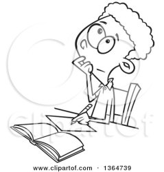 thinking boy writing math problem clipart illustration cartoon while figuring ron vector royalty leishman toonaday template pepper section cross