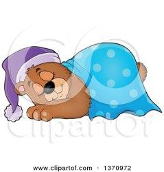 cartoon bear sleeping clipart cute brown blanket sleep night cap moon under visekart vector royalty illustration crescent stars illustrations clipartof