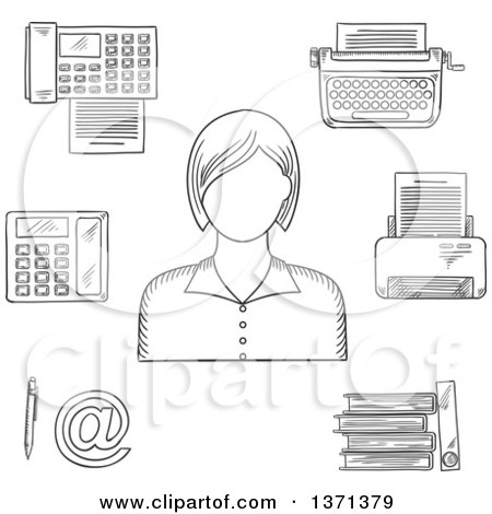 Clipart of a Black and White Sketched Secretary Telephone