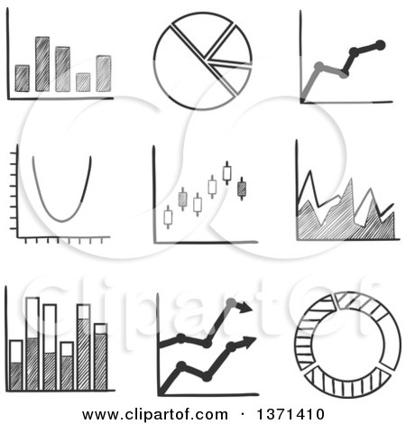Clipart of a Black and White Sketched Pie Graph, Bar